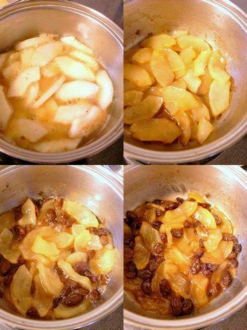 モーウィとレーズンをリンゴジュースで煮る