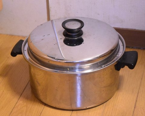 麹菌を鍋で培養する