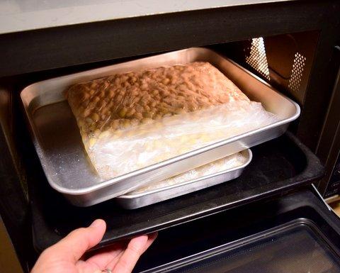 大豆をオーブンレンジで保温する
