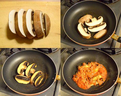 ポルトベーロのトマトソース炒めを作る