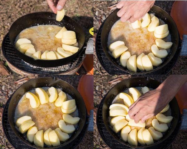 スキレットにリンゴを並べる
