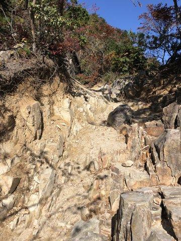 御在所岳岩がゴツゴツの登山道