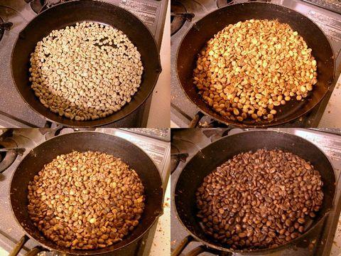 プレミックスの豆を炒る