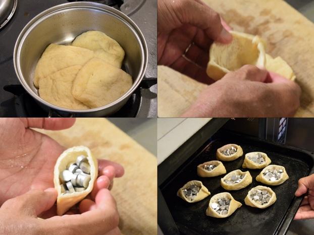 お揚げを甘く下味つけてからオーブンで焼く