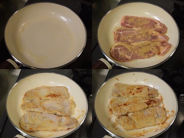 豚肉の西京焼きを焼く