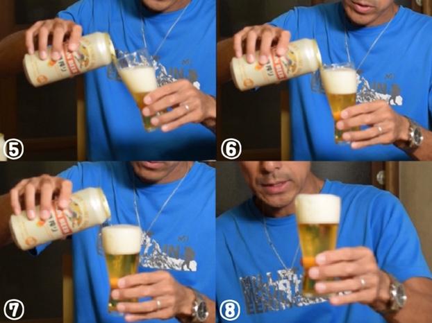 最初に泡だらけになった時の美味しいビールの注ぎ方後半