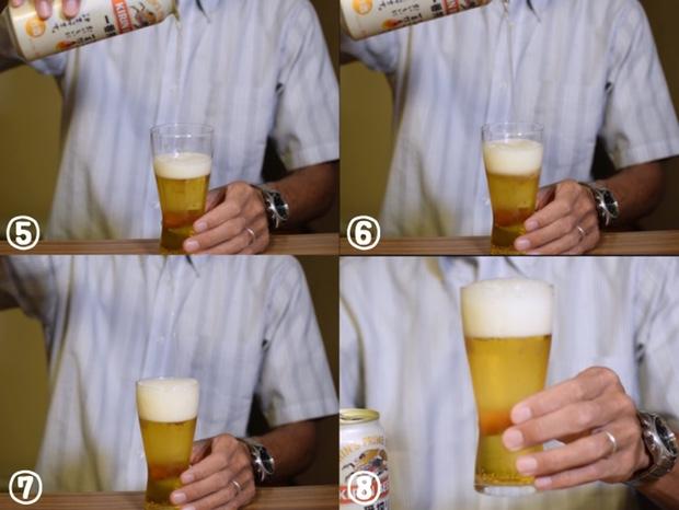 泡が発生しなかった時の美味しいビールの注ぎ方後半