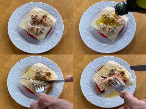 トマト&チーズ&イワシのなれずしを食べる