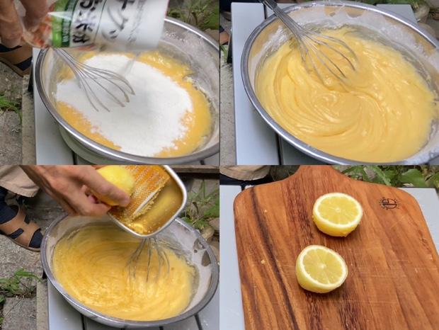 米粉を混ぜレモンの皮をすりおろしレモンを真っ二つに切る