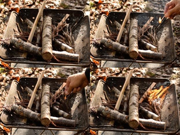薪にマッチで着火する