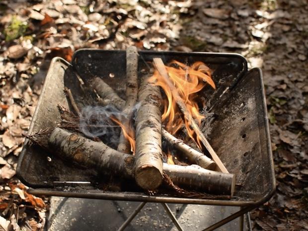 燃え始めた薪