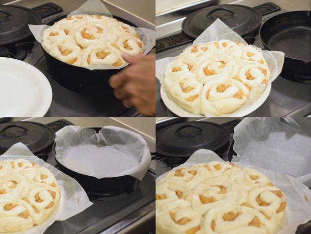 アップルシナモンロールパンをひっくり返す準備