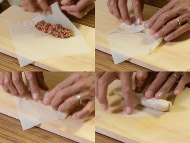 春巻きの皮で棒餃子に包む