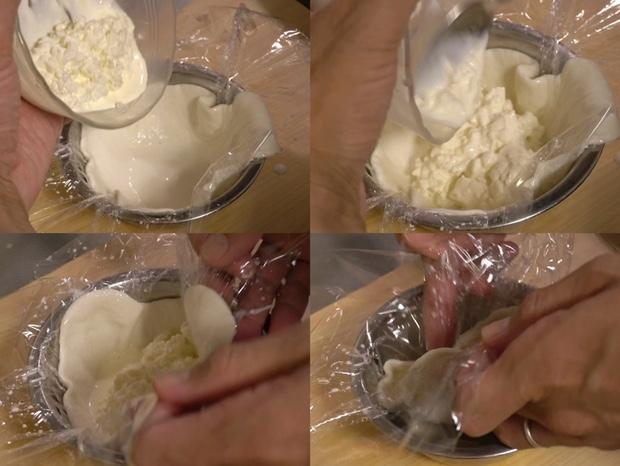 ブラータチーズを作ろうとしてるところ