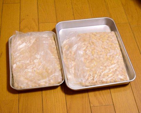 大豆をビニール袋に入れる