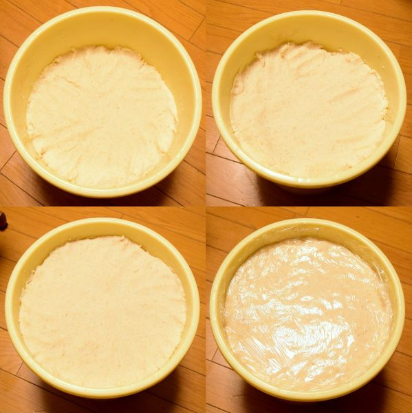 味噌を漬物樽に詰め込んで表面にラップを貼る