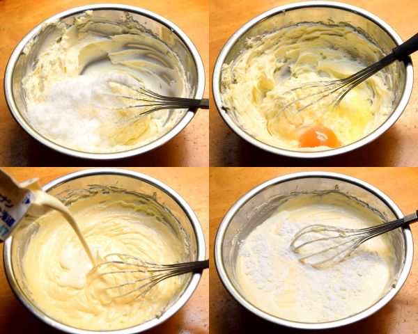 バスクチーズケーキの材料を順番に入れて混ぜる