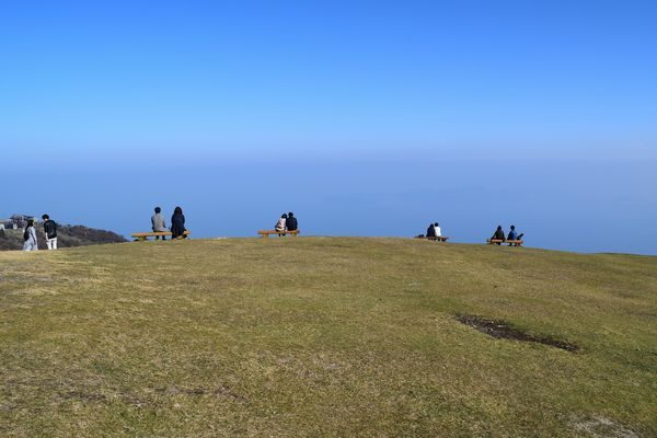 蓬莱山頂での一こま