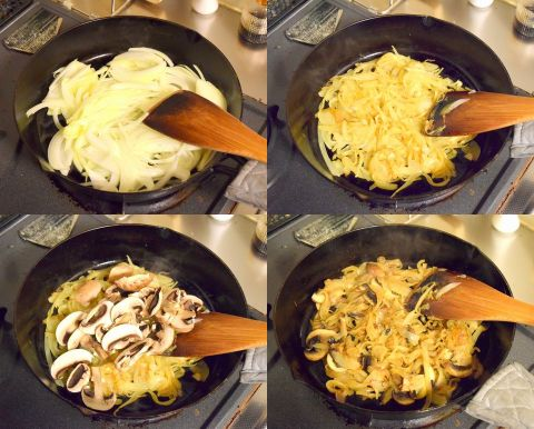 玉ねぎマッシュルームを炒める